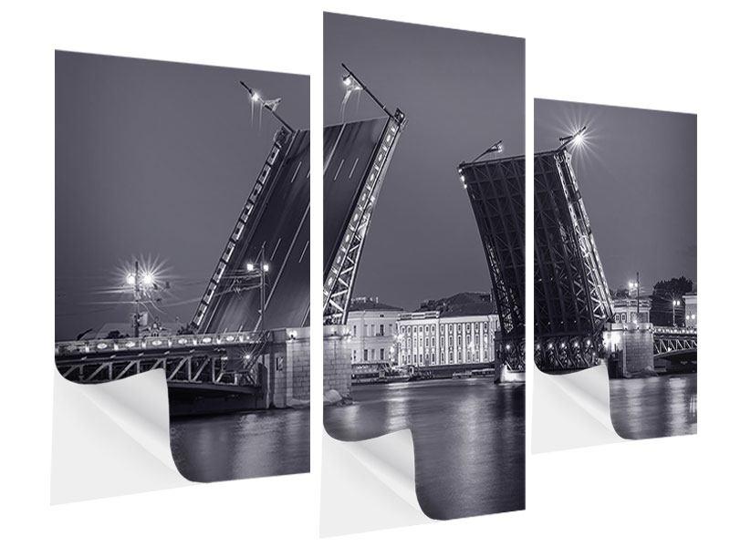 Klebeposter 3-teilig modern Klappbrücke bei Nacht