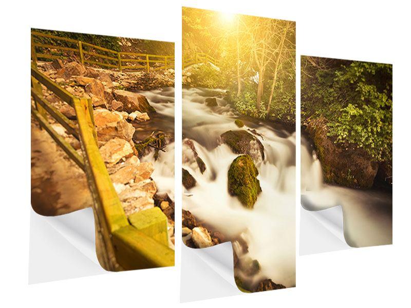 Klebeposter 3-teilig modern Sonnenuntergang am Wasserfall