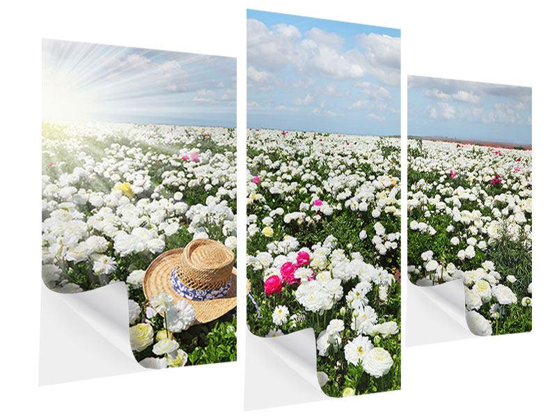 Klebeposter 3-teilig modern Die Frühlingsblumenwiese