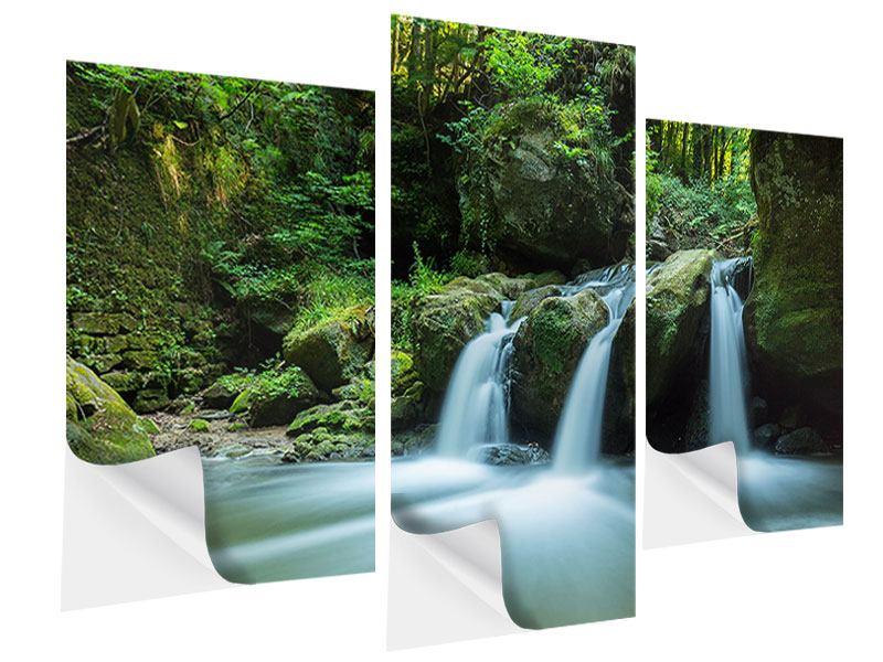 Klebeposter 3-teilig modern Fallendes Wasser