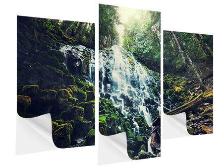 Klebeposter 3-teilig modern Feng Shui & Wasserfall