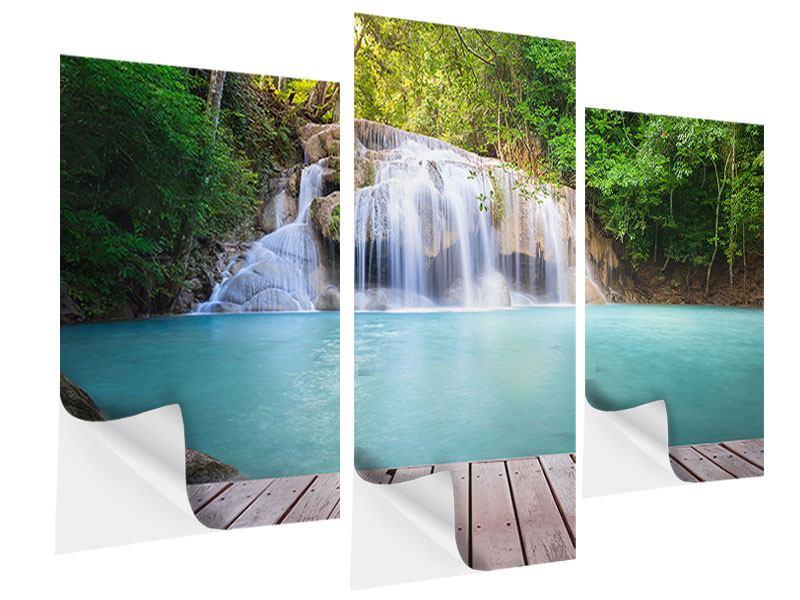 Klebeposter 3-teilig modern Terrasse am Wasserfall