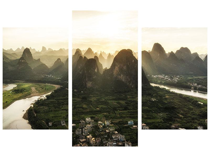 Klebeposter 3-teilig modern Die Berge von Xingping
