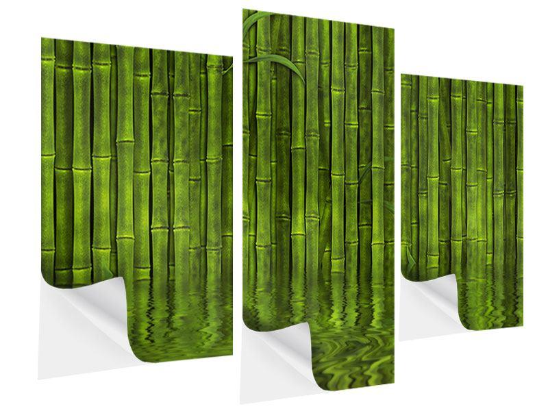 Klebeposter 3-teilig modern Wasserspiegelung Bambus