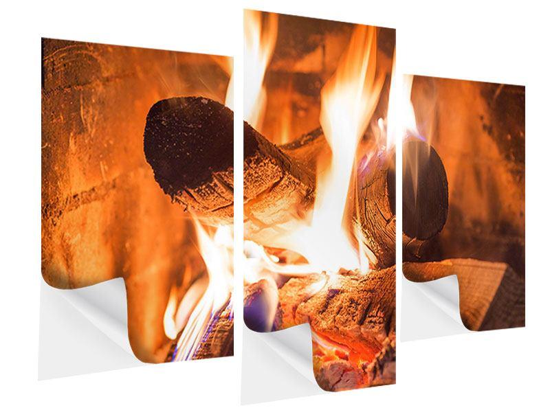 Klebeposter 3-teilig modern Kaminfeuer
