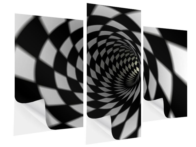 Klebeposter 3-teilig modern Abstrakter Tunnel Black & White