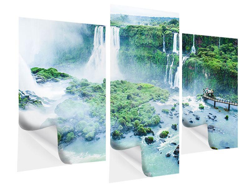 Klebeposter 3-teilig modern Wasserfälle