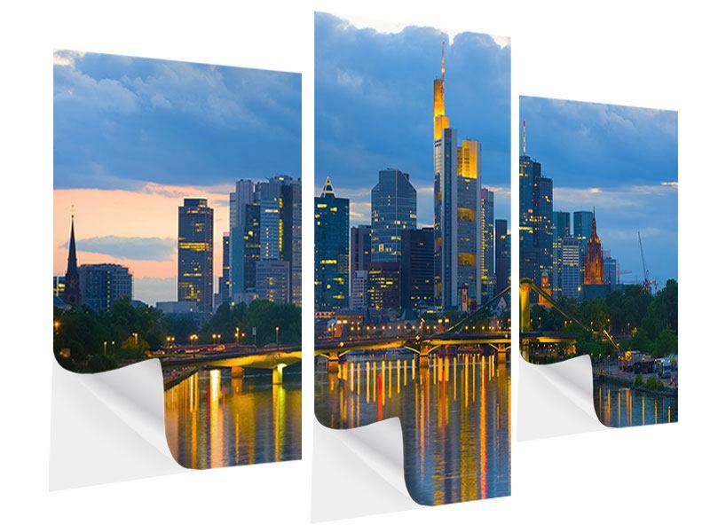 Klebeposter 3-teilig modern Skyline Frankfurt am Main