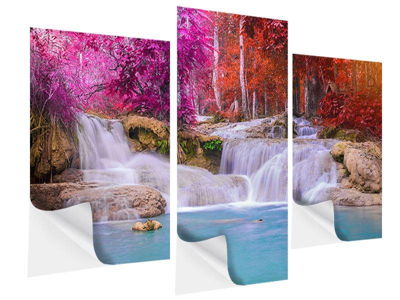 Klebeposter 3-teilig modern Paradiesischer Wasserfall