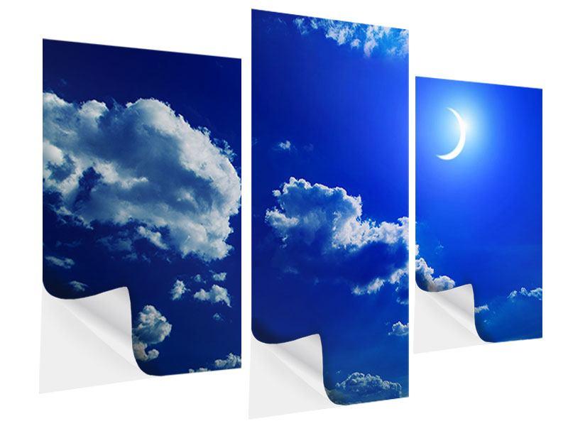 Klebeposter 3-teilig modern Der Mond