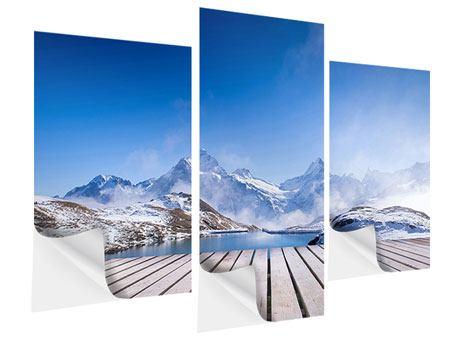Klebeposter 3-teilig modern Sonnenterrasse am Schweizer Bergsee