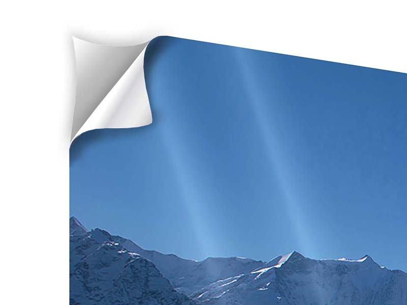 Klebeposter 3-teilig modern Sonnenterrasse in den Schweizer Alpen