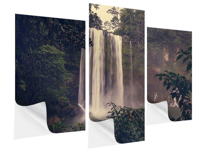 Klebeposter 3-teilig modern Wasserfall in Mexiko