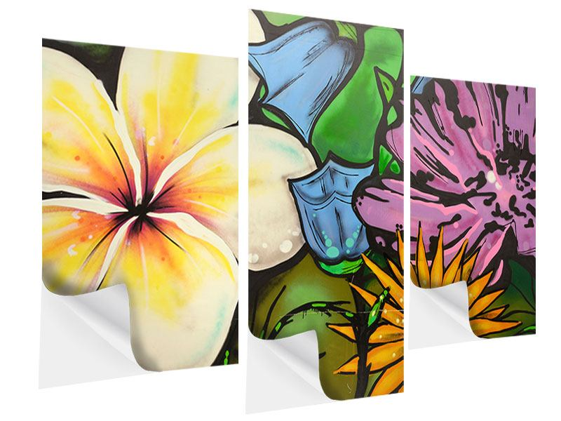 Klebeposter 3-teilig modern Graffiti Flowers