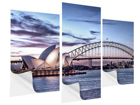 Klebeposter 3-teilig modern Skyline Sydney Opera House