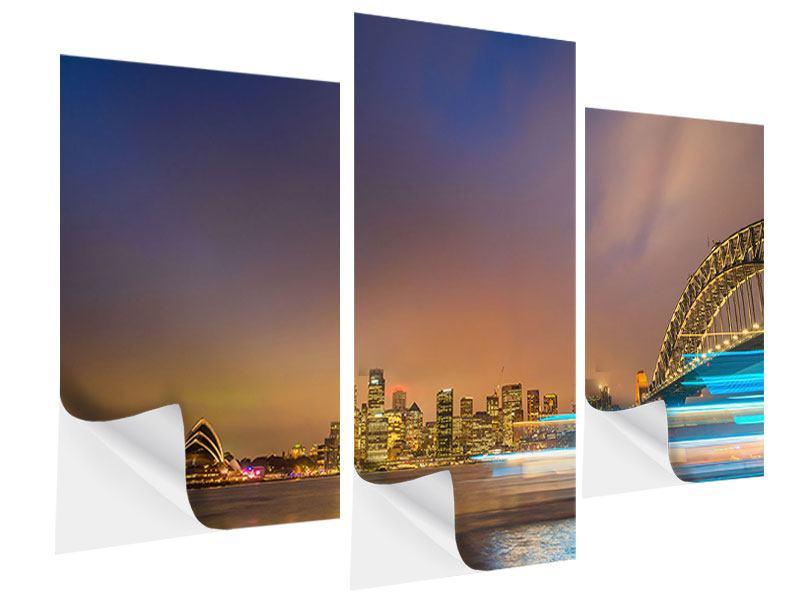 Klebeposter 3-teilig modern Skyline Opera House in Sydney im Abendlicht