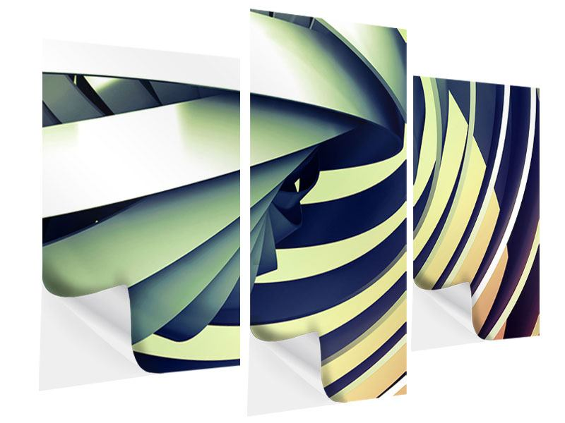 Klebeposter 3-teilig modern Abstrakte Perspektiven