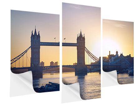 Klebeposter 3-teilig modern Tower Bridge bei Sonnenuntergang