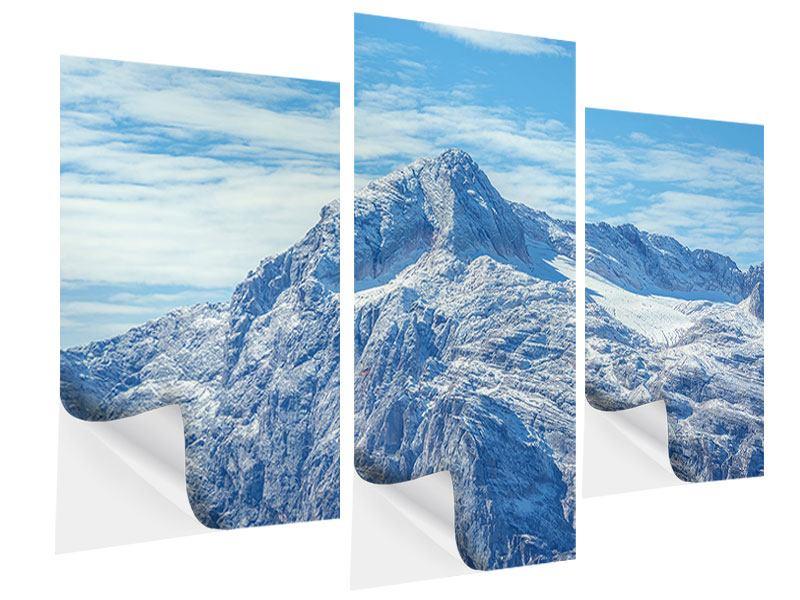 Klebeposter 3-teilig modern Friedliche Bergstimmung