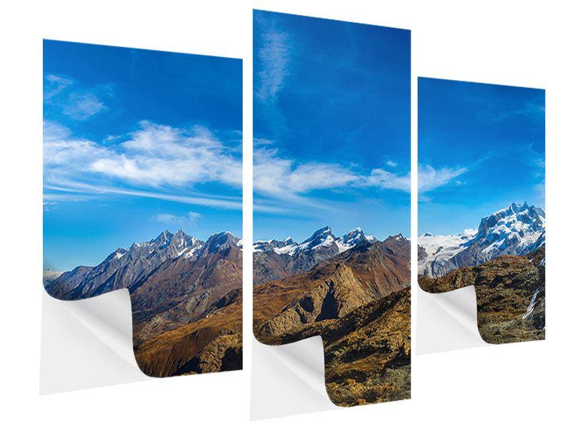 Klebeposter 3-teilig modern Schweizer Alpen im Frühling