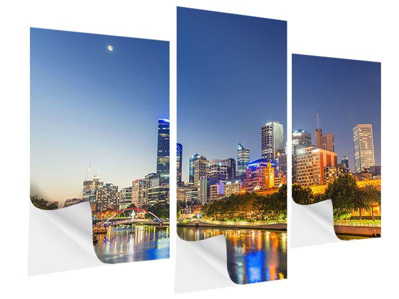 Klebeposter 3-teilig modern Skyline Sydney in der Abenddämmerung
