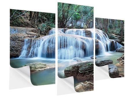 Klebeposter 3-teilig modern Ein Wasserfall