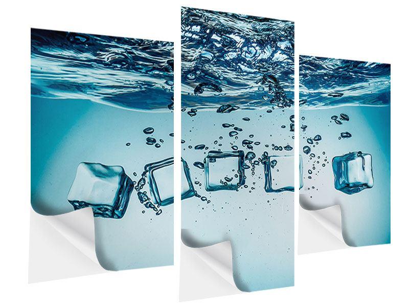 Klebeposter 3-teilig modern Eiswürfel-Quadro