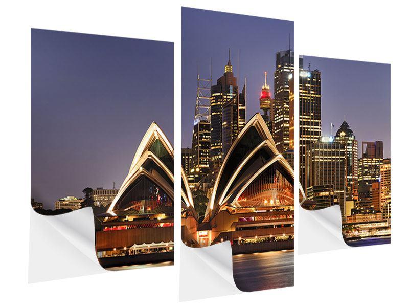 Klebeposter 3-teilig modern Skyline Mit dem Boot vor Sydney