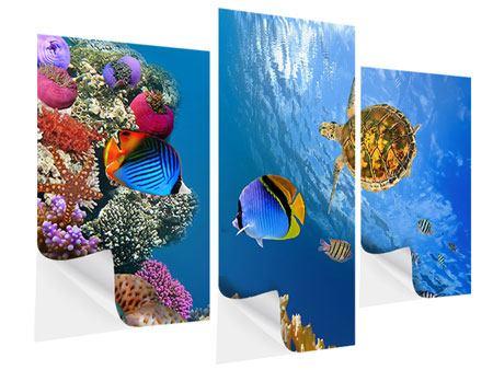 Klebeposter 3-teilig modern Fisch im Wasser