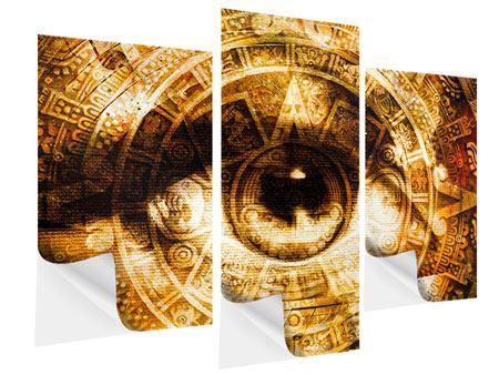 Klebeposter 3-teilig modern Fraktales Auge