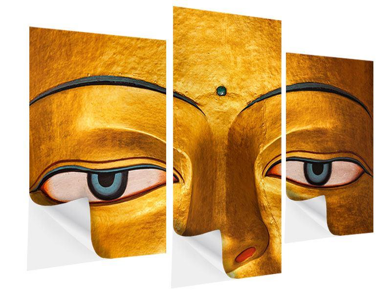 Klebeposter 3-teilig modern Die Augen eines Buddhas