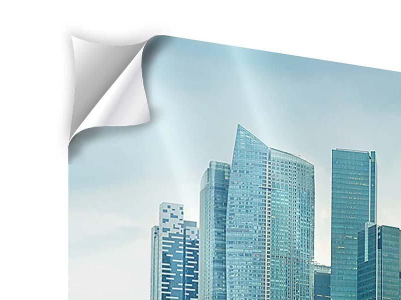 Klebeposter 3-teilig modern Skyline Sonnenaufgang in Singapur