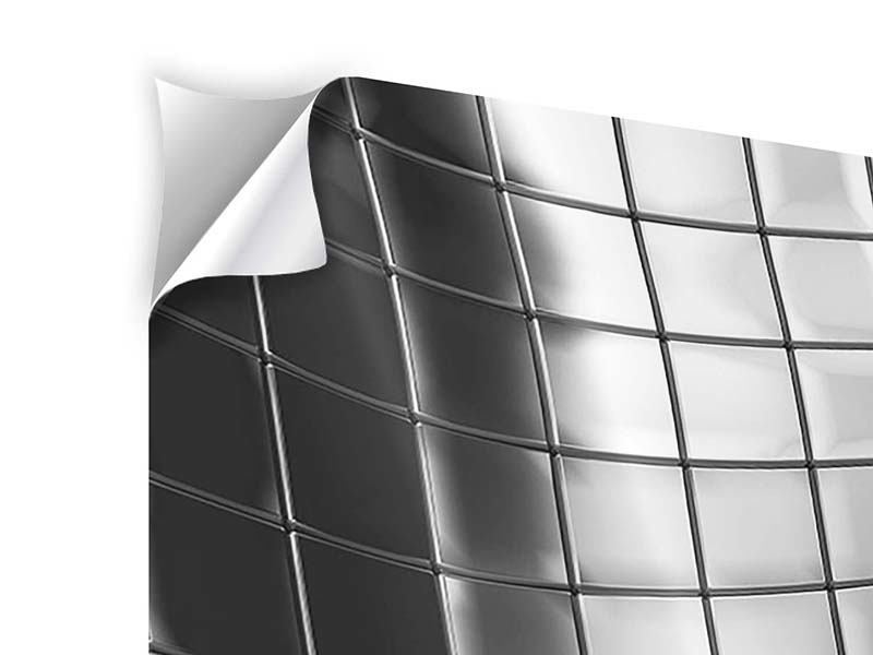 Klebeposter 3-teilig modern Abstrakter Stahl