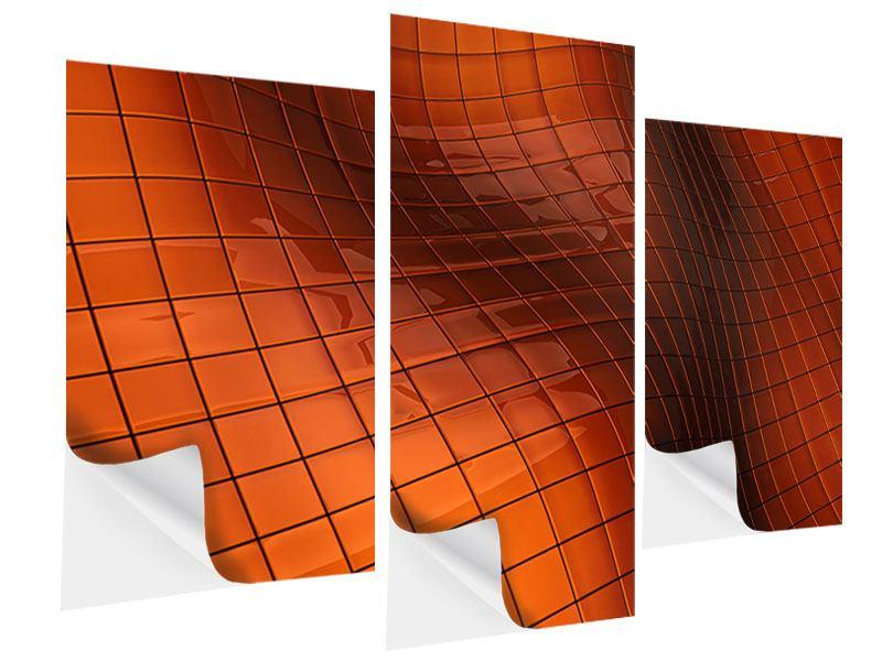 Klebeposter 3-teilig modern 3D-Kacheln