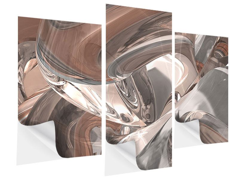 Klebeposter 3-teilig modern Abstraktes Glasfliessen
