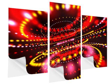 Klebeposter 3-teilig modern Abstraktes Lichtspiel