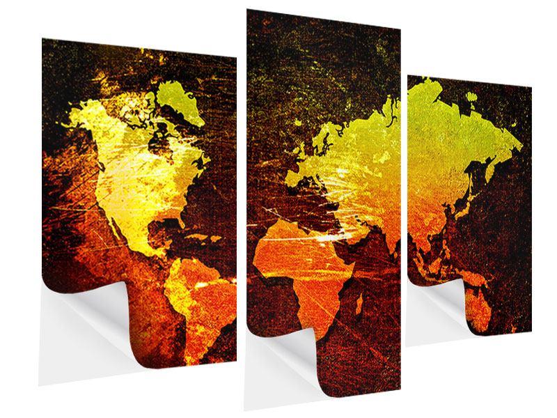 Klebeposter 3-teilig modern Retro-Weltkarte