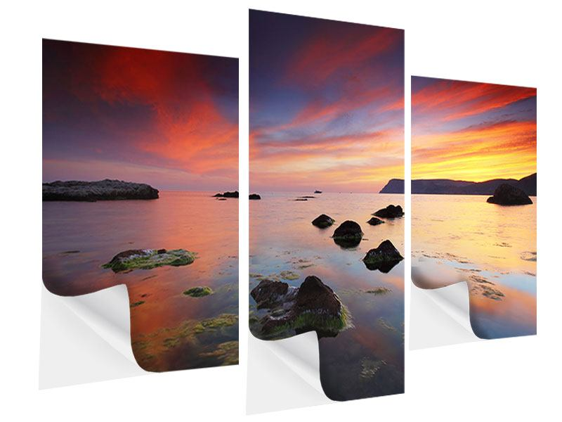 Klebeposter 3-teilig modern Ein Sonnenuntergang am Meer
