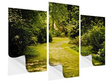 Modern 3 Piece Self-Adhesive Poster Moss-Covered Path