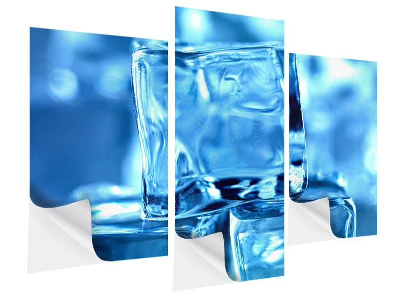 Klebeposter 3-teilig modern Eiswürfel XXL