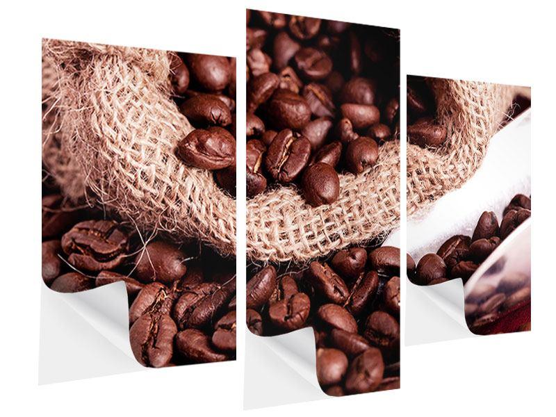 Klebeposter 3-teilig modern XXL Kaffeebohnen