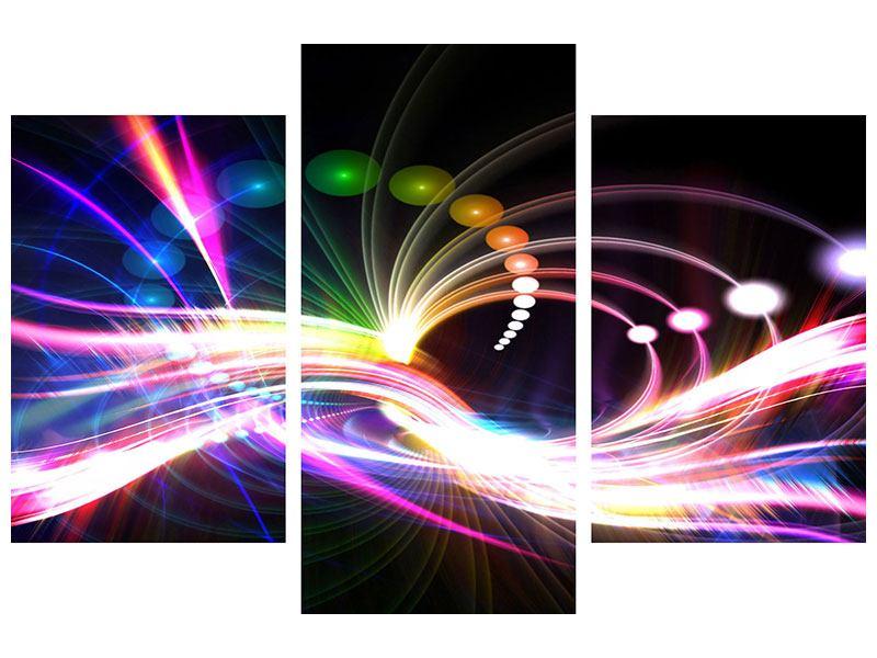 Klebeposter 3-teilig modern Abstrakte Lichtreflexe