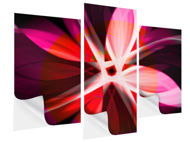 Klebeposter 3-teilig modern Abstrakt Flower Power