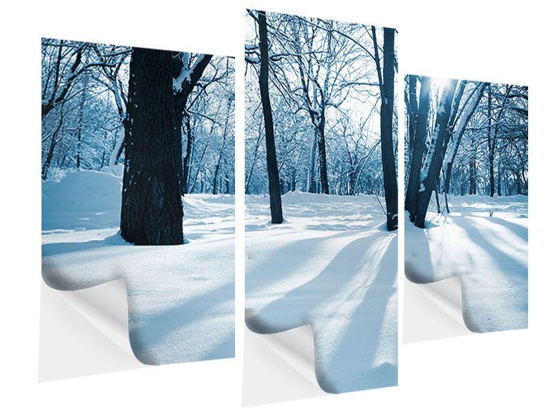 Klebeposter 3-teilig modern Der Wald ohne Spuren im Schnee