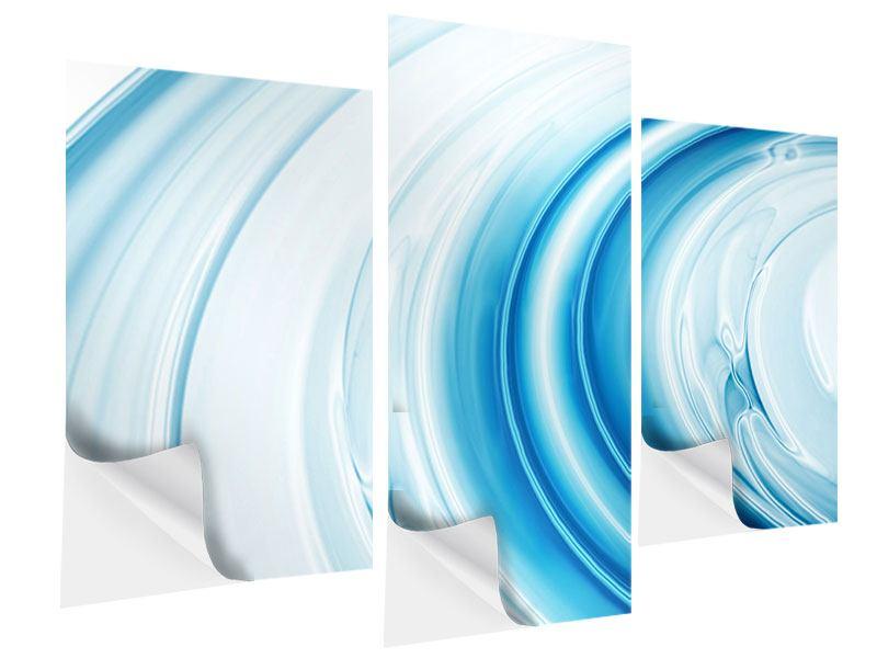 Klebeposter 3-teilig modern Abstraktes Glas