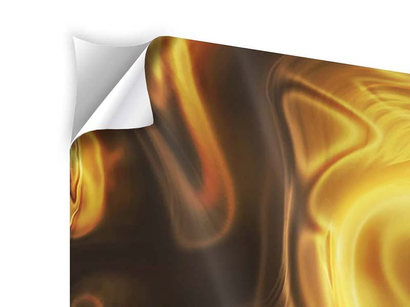 Klebeposter 3-teilig modern Abstrakt Flüssiges Gold