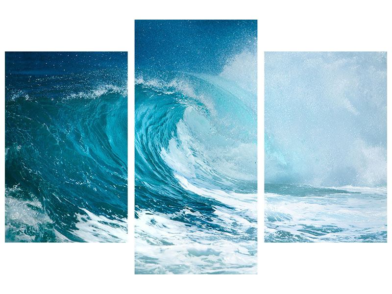 Klebeposter 3-teilig modern Die perfekte Welle