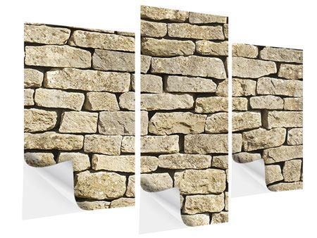 Klebeposter 3-teilig modern Alte Mauer