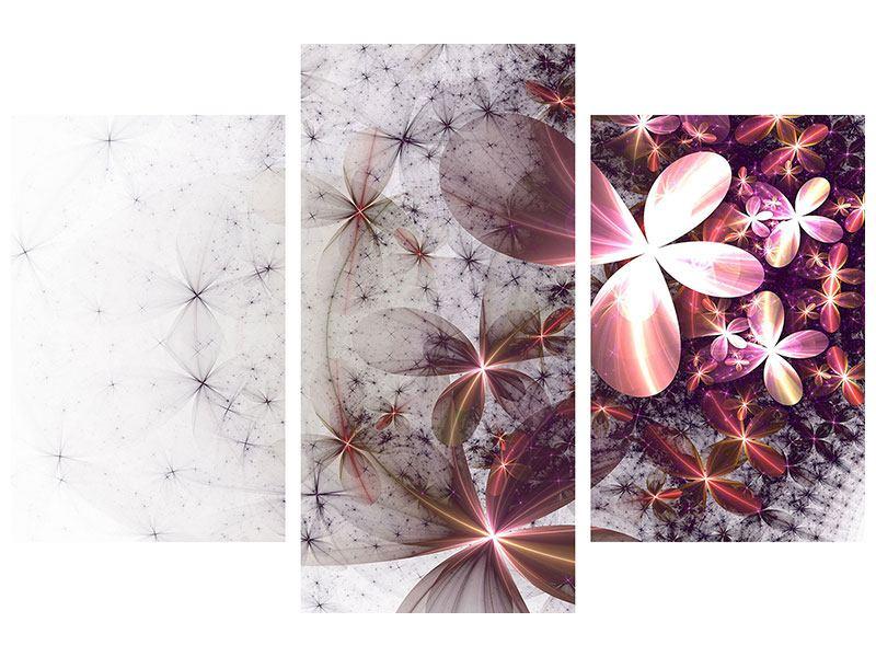 Klebeposter 3-teilig modern Abstrakte Blumen