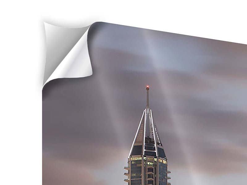 Klebeposter 3-teilig modern Skyline Dubai bei Sonnenuntergang